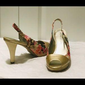 Anne Klein floral peep toe heels